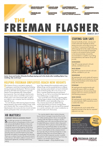 front page Freeman Flasher March newsletter