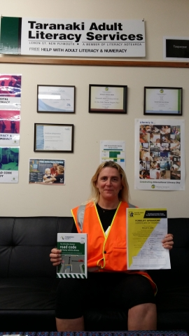 Kylie, Taranaki Adult Literacy Services with Forklift Certificate